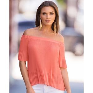 Romantic pleated off the shoulder top